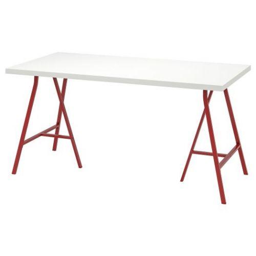 LINNMON ЛИННМОН / LERBERG ЛЕРБЕРГ, Стол, белый/красный, 150x75 см - 193.309.63
