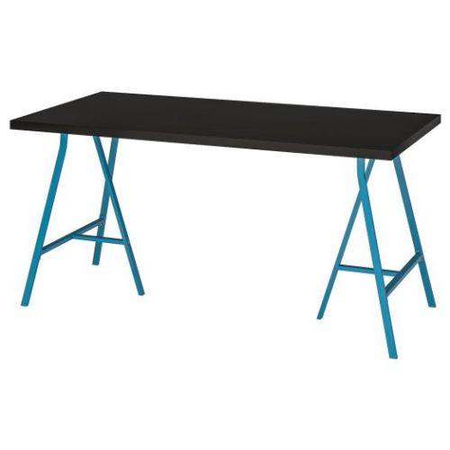 LINNMON ЛИННМОН / LERBERG ЛЕРБЕРГ, Стол, черно-коричневый/синий, 150x75 см - 493.309.66