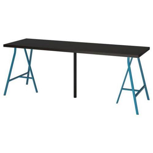 LINNMON ЛИННМОН / LERBERG ЛЕРБЕРГ, Стол, черно-коричневый/синий, 200x60 см - 793.355.71