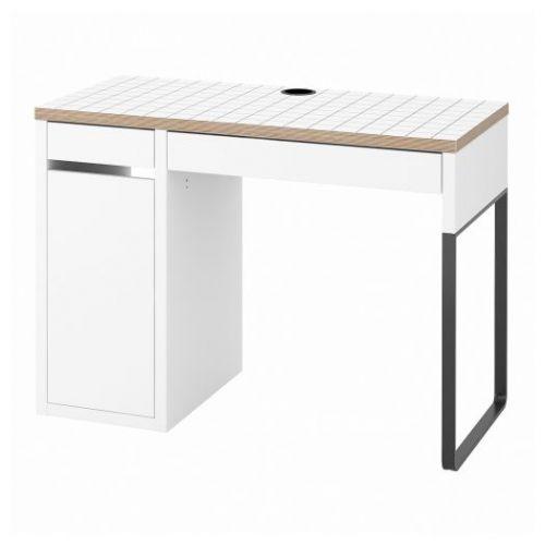 MICKE МИККЕ, Письменный стол, белый/антрацит, 105x50 см - 704.898.41