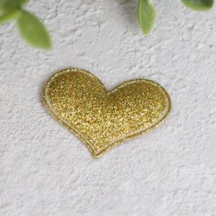 Кукольный аксессуар - Патч сердце золотое 3,2*2,2 см
