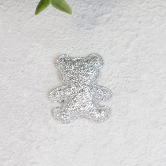 Кукольный аксессуар - Патч серебряный мишка 2,6*3,3 см.