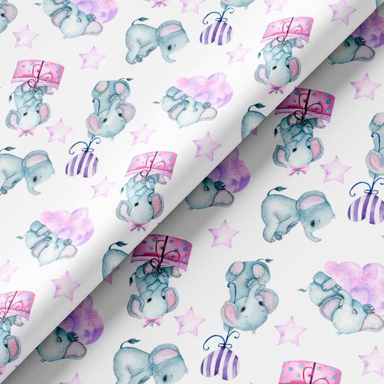 Хлопок Перкаль - Сказочные слоники 50х37