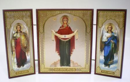 """Складень тройной на дереве - икона """"Покров Пресвятой Богородицы"""""""