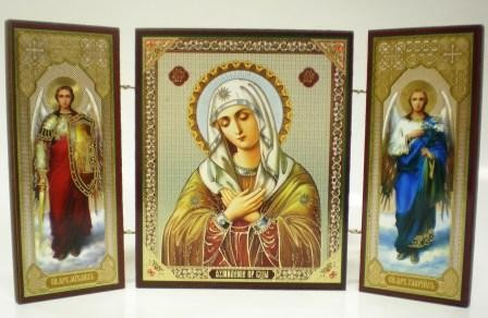 """Складень тройной на дереве - икона Пресвятой Богородицы """"Умиление"""""""