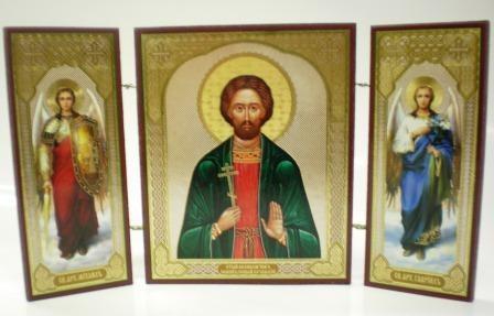 """Складень тройной на дереве - икона """"Великомученик Иоанн Новый Сочавский"""""""