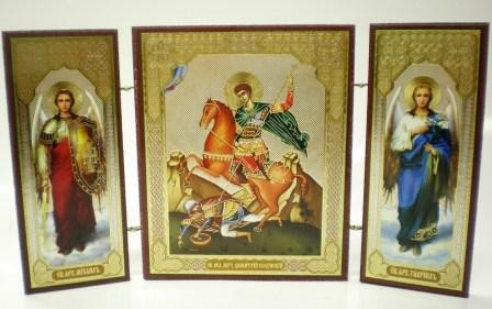 """Складень тройной на дереве - икона """"Великомученик Димитрий Солунский"""""""