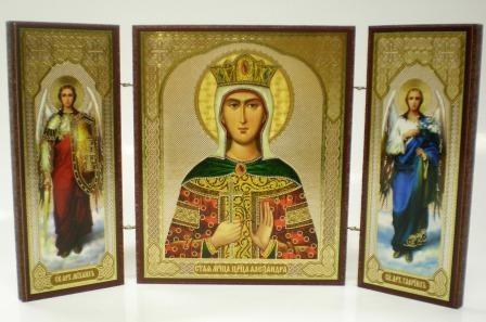 """Складень тройной на дереве - икона """"Святая мученица царица Александра"""""""