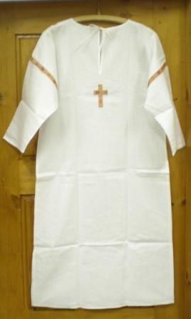 Рубашка крестильная мужская. Размер 44-60. Бязь, тесьма.1720