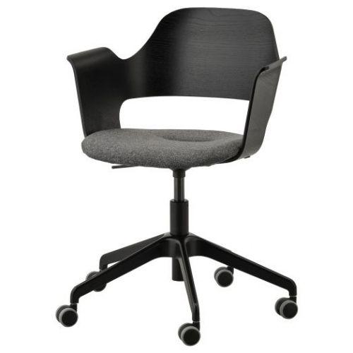 FJALLBERGET ФЬЕЛЛБЕРГЕТ, Конференц-стул, на колесиках, ясеневый шпон/черная морилка/Гуннаред темно-серый - 603.964.23
