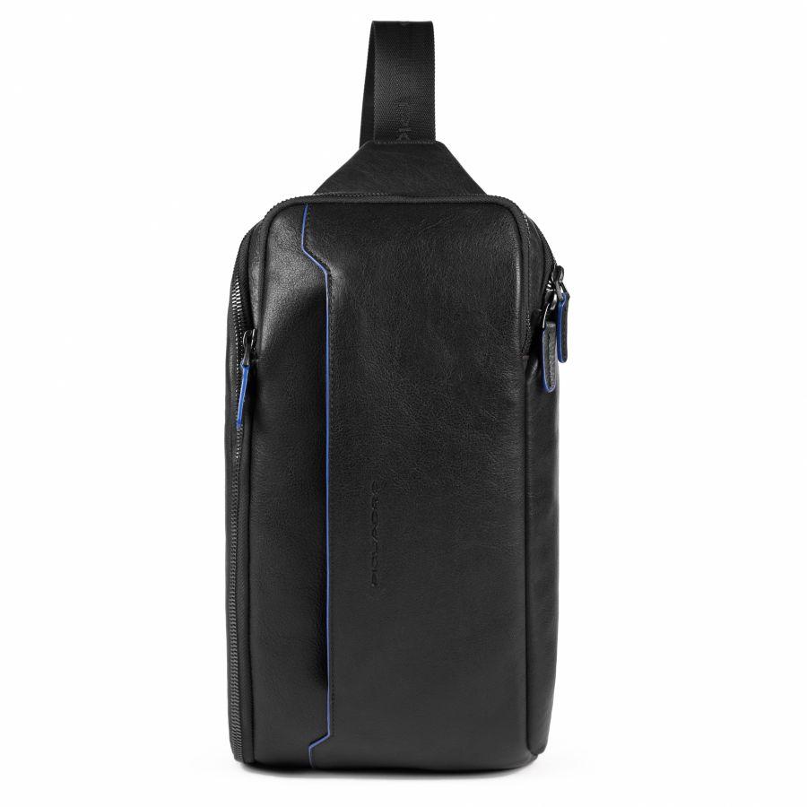 Рюкзак с одним плечевым ремнем и карманом с RFID защитой Piquadro CA5107B2S/N мужской кожаный черный