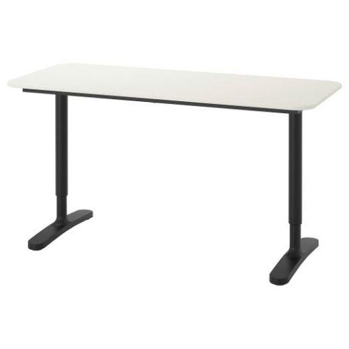 BEKANT БЕКАНТ, Письменный стол, белый/черный, 140x60 см - 192.784.94