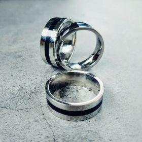 Кольцо серебро с чёрной полоской (не магнит) Китай