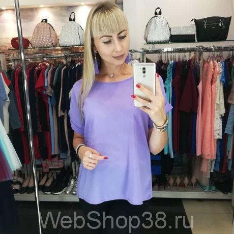 Сиреневая шифоновая блузка