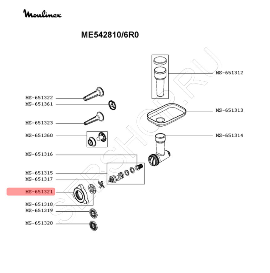 Гайка, замыкающее кольцо мясорубки MOULINEX HV7 PLUS модели ME542810. Артикул MS-651321