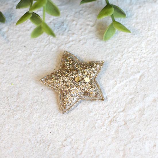Кукольный аксессуар - Патч золотая звездочка с блестками 3,8 см.
