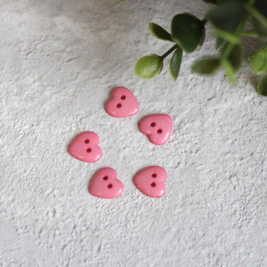 Пуговицы декоративные 'Розовое сердце', 13 мм (набор 5 шт.)