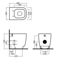 Напольный унитаз приставной Hatria Fusion 48 YXZK01 48х35 схема 1