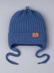 РБ 25332 Шапка вязаная для мальчика на завязках, лапша, нашивка bаby, синий