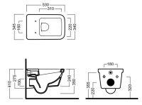 Подвесной унитаз Hatria Erika Pro Q VBYXJ001 с бидеткой 53х34,5 схема 1