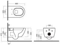 Унитаз Hatria Fusion VBY1XQ01 подвесной с бидеткой 45,5х35,5 схема 1