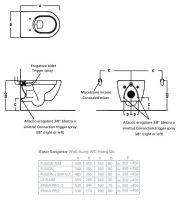 Подвесной унитаз со встроенной бидеткой Hatria Le Fiabe VBY1AC01 55,5х36,5 схема 1