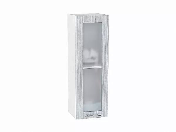 Шкаф верхний Валерия В309 со стеклом (серый металлик дождь)
