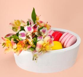 """Пенобокс 20×10×10 см кашпо для цветов и подарков """"Овал"""", белый"""