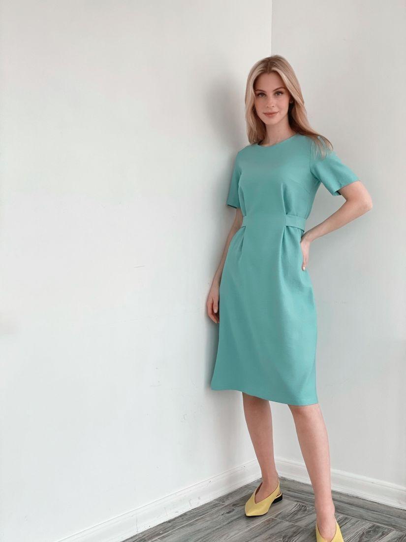 s3861 Платье-футляр из микровельвета в цвете тиффани