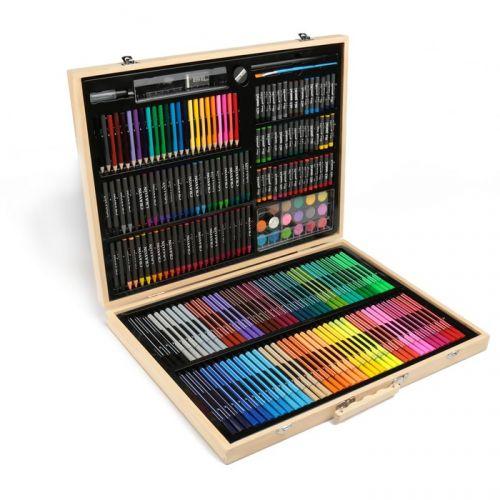 Художественный набор (220 предметов) в деревянном чемоданчике