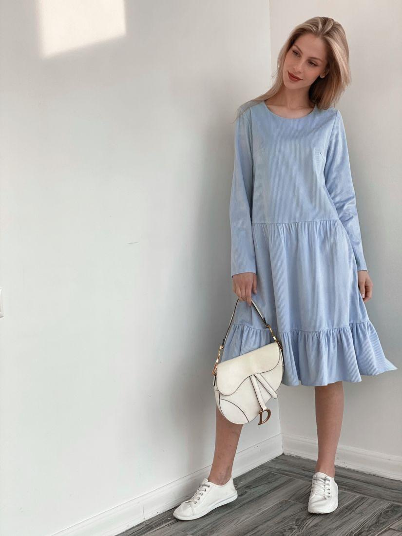 s3871 Платье вельветовое с воланом голубое