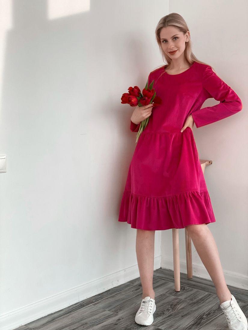 s3875 Платье вельветовое с воланом ярко-розовое