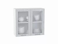 Шкаф верхний Валерия В800 со стеклом  (серый металлик дождь)