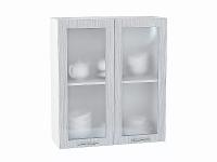 Шкаф верхний Валерия В809 со стеклом  (серый металлик дождь)
