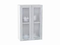 Шкаф верхний Валерия В609 со стеклом  (серый металлик дождь)