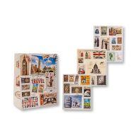 """Пакет подарочный бумажный """"Марки"""", 32х26х12 см, плотность бумаги 157 г, 4 дизайна в асс. (арт. S 1033)"""