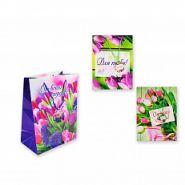 "Пакет подарочный бумажный, глянцевый ""Цветы"", 28х21х12 см, 4 вида в ассортименте (арт. S 2557)"