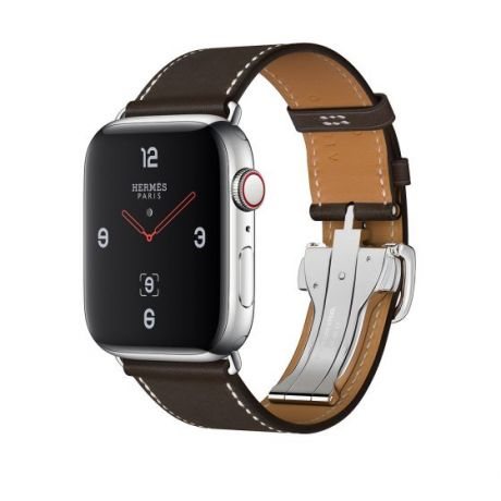 Apple Watch Hermes Stainless Steel Series 4 44mm GPS + Cellular Ebene Barenia Leather Single Tour Deployment Buckle