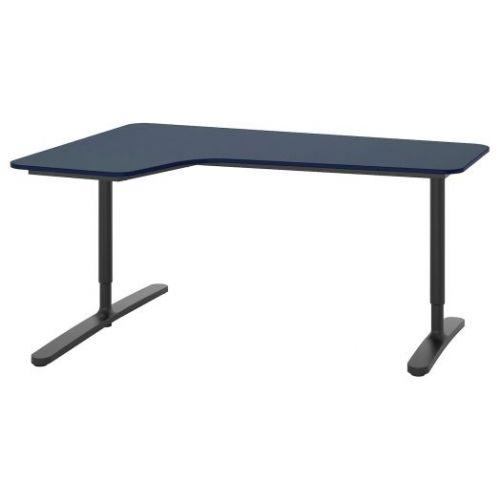 BEKANT БЕКАНТ, Углов письм стол левый, линолеум синий/черный, 160x110 см - 792.828.17