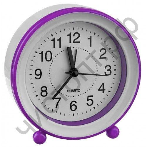 """Часы -будильник настол. Perfeo Quartz """"PF-TC-007"""", круглые диам. 10,5 см, фиолетовые"""