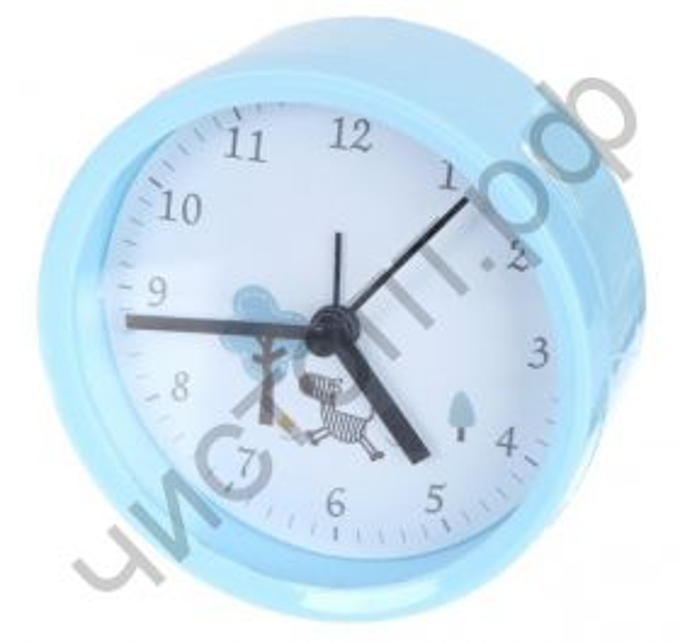 """Часы -будильник настол. Perfeo Quartz """"PF-TC-011"""", круглые диам. 9,5 см, синие"""