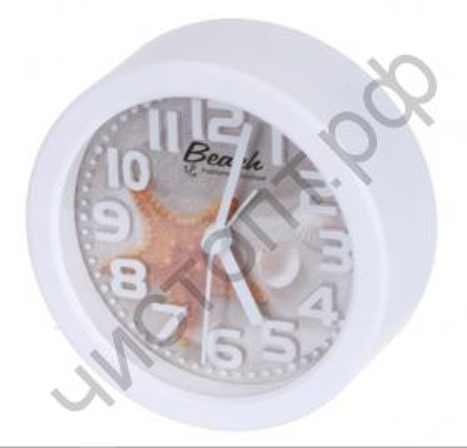 "Часы -будильник настол. Perfeo Quartz ""PF-TC-013"", круглые диам. 10,5 см, звезда"