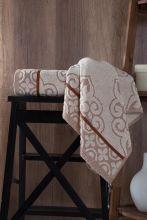 "Полотенце махровое жаккард  ""KARNA"" TUNUS  (коричневое) 70*140 Арт.3196-3"