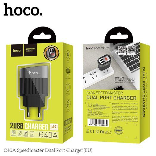 Сетевое зарядное устройство HOCO C40A Speedmaste, 2xUSB, черный