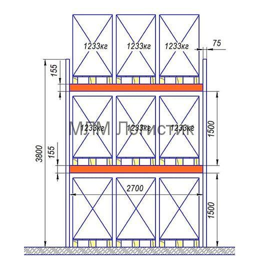Паллетный стеллаж 3800х2850х1050 (3700кг)