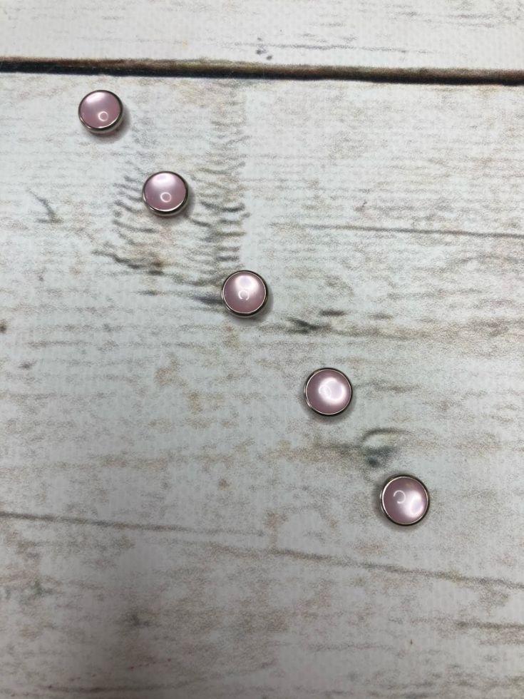 кнопка рубашечная 9,5 мм нерж. розовая  жемчужина