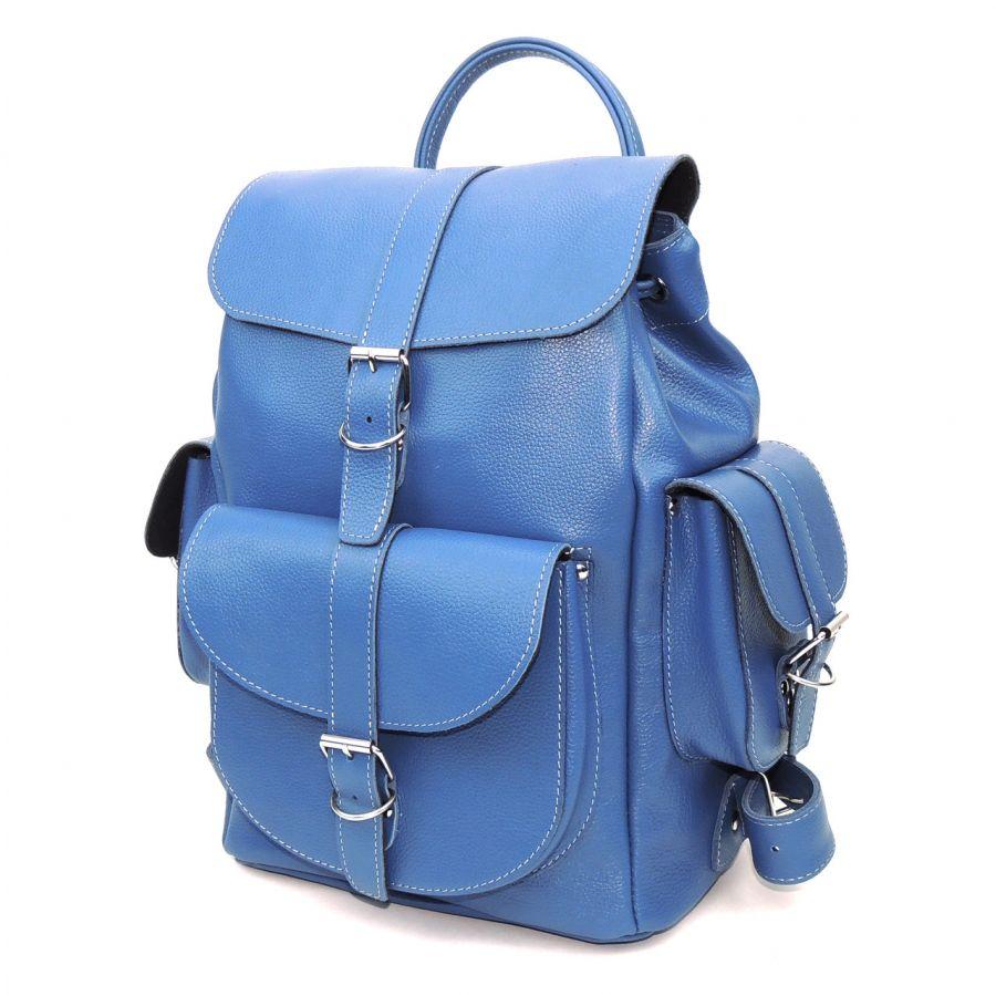 """Рюкзак кожаный женский голубой  """"Морской блюз"""""""