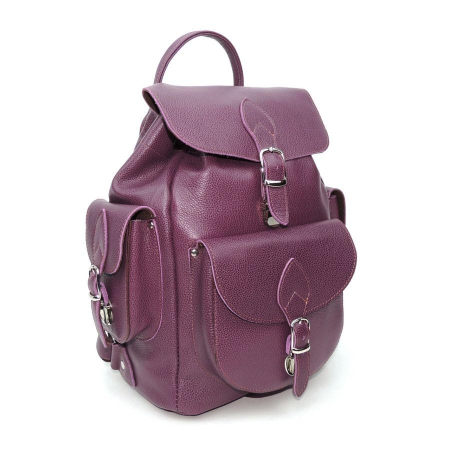 """Фиолетовый кожаный рюкзак  """"Изабелла"""""""