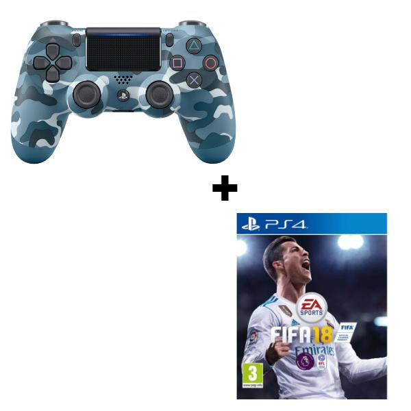 Геймпад Sony Dualshock 4 (ver.2) Blue Camouflage (PS4) + игра FIFA 18