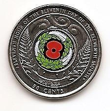 День перемирия в Первой мировой войне 50 центов Новая Зеландия 2018